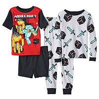Boys 4-12 Minecraft 4-Piece Pajama Set