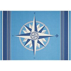 Waverly Sun N' Shade Sailing Compass Indoor Outdoor Rug