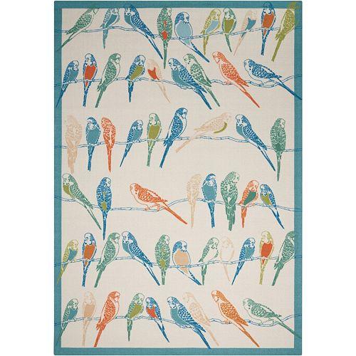 Waverly Sun N' Shade Retweet Bird Indoor Outdoor Rug