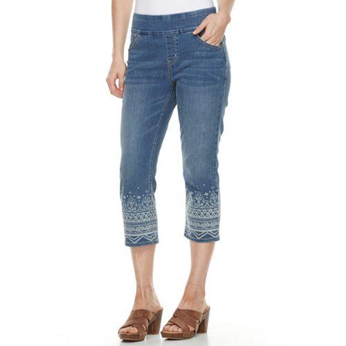 b23c6eeddf0f5 Women s ReCreation Embroidered Stretch Denim Capri Jeans