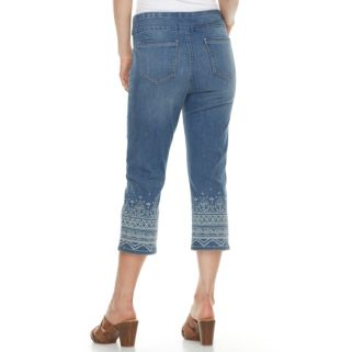 Women's ReCreation Embroidered Stretch Denim Capri Jeans