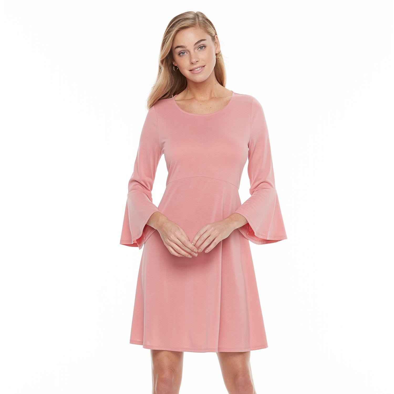 2886793_Dusty_Rose?wid=1000&hei=1000&op_sharpen=1 apt 9� bell sleeve fit & flare dress,Kohls Apt 9 Womens Clothing