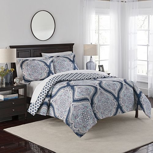 Marble Hill 3-piece Lotus Reversible Comforter Set