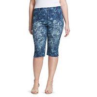 Plus Size Gloria Vanderbilt Amanda Floral Skimmer Capri Jeans