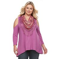 Plus Size World Unity Cold Shoulder Top with Tassle Scarf