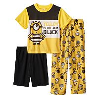 Boys 4-10 Despicable Me 3 Yellow Is The New Black 3-Piece Pajama Set
