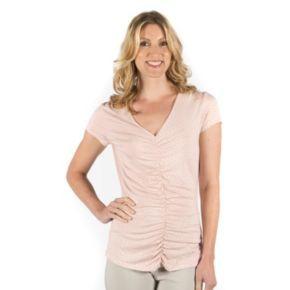 Women's Larry Levine Ruched V-Neck Tee