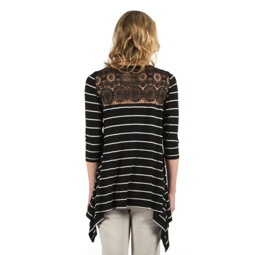 Women's Larry Levine Striped Lace-Back Tee