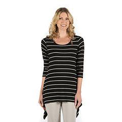 Women's Larry Levine Striped Lace-Back Tee