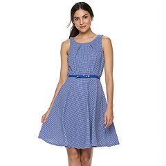 Women's ELLE™ Gingham Fit & Flare Dress