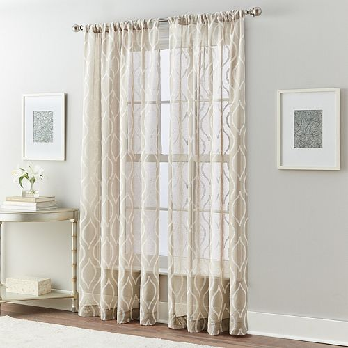 Wave Embroidered Sheer Window Curtain