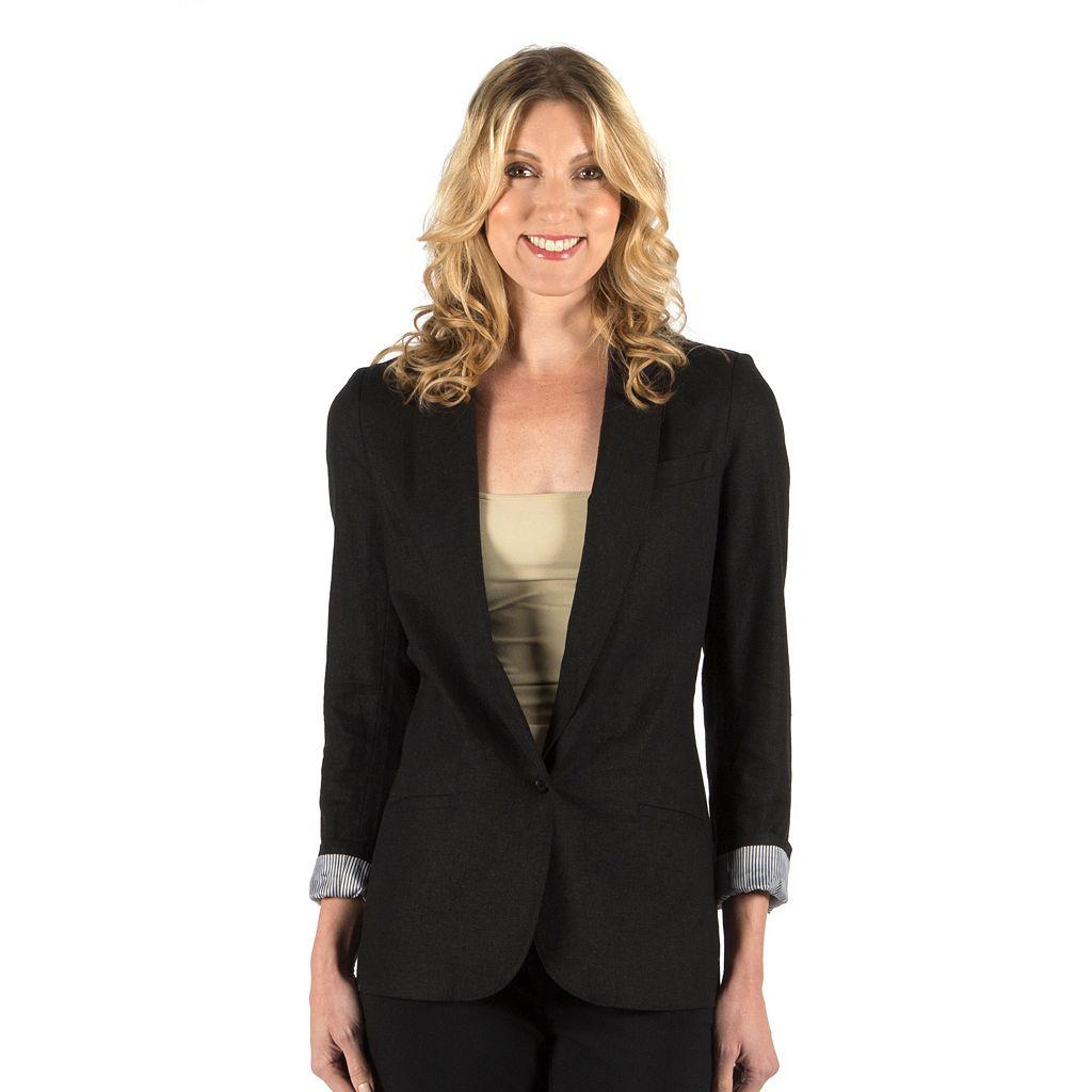 Women's Larry Levine Linen Blend Blazer