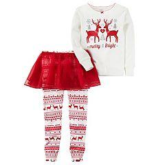 Girls 4-8 Carter's 'Merry & Bright' Reindeer Top & Tutu Leggings Pajama Set