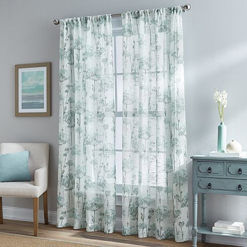 Floral Bella Sheer Textured Window Curtain