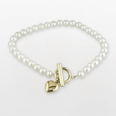 14k Gold Cultured Freshwater Pearl Puffed Heart Toggle Bracelet