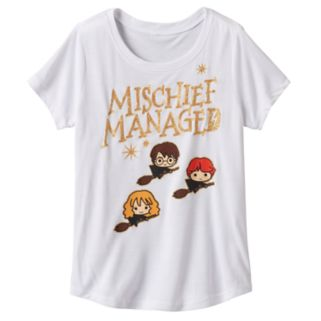 "Girls 7-16 Harry Potter Hermione Granger & Ron Weasley ""Mischief Managed"" Tee"