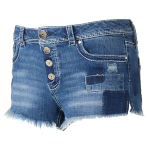 Juniors' Almost Famous Exposed Button Patch Shortie Jean Shorts