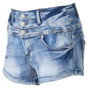 Juniors' Almost Famous 3-Button High-Rise Shortie Jean Shorts