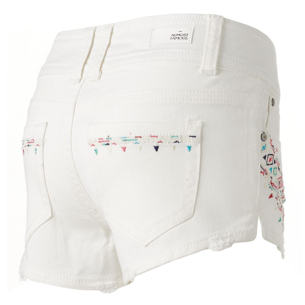 Juniors' Almost Famous White Embroidered Shortie Jean Shorts