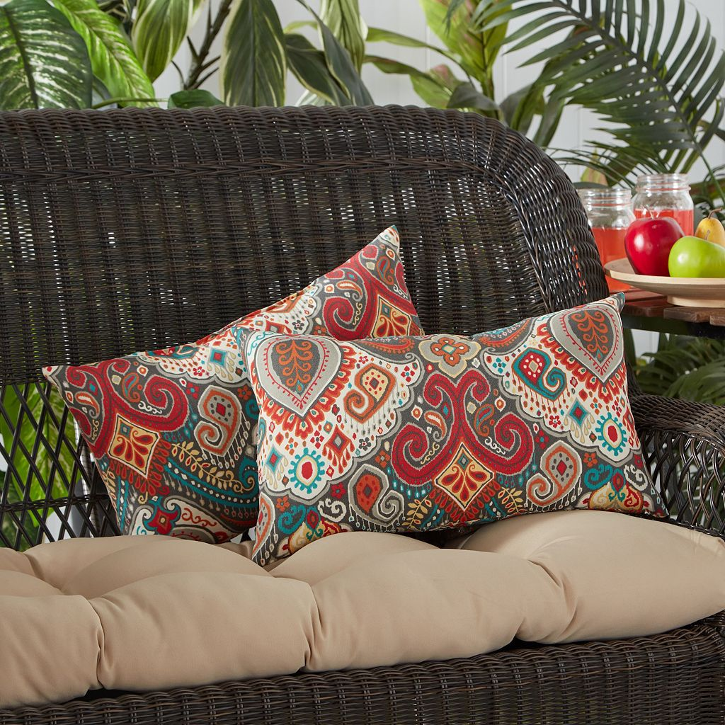 Greendale Home Fashions Outdoor 2-pack Oblong Throw Pillow Set