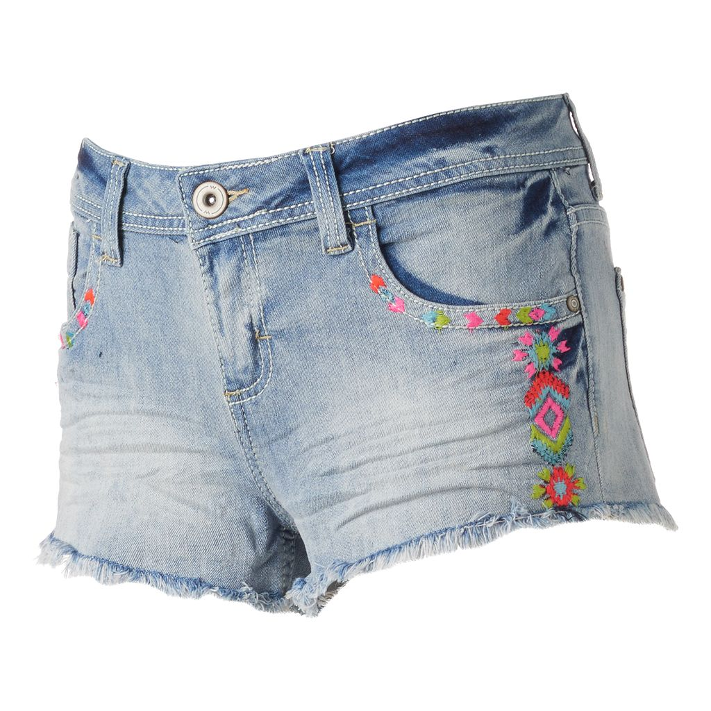 Juniors' Almost Famous Fray Hem Neon Embroidery Shortie Jean Shorts