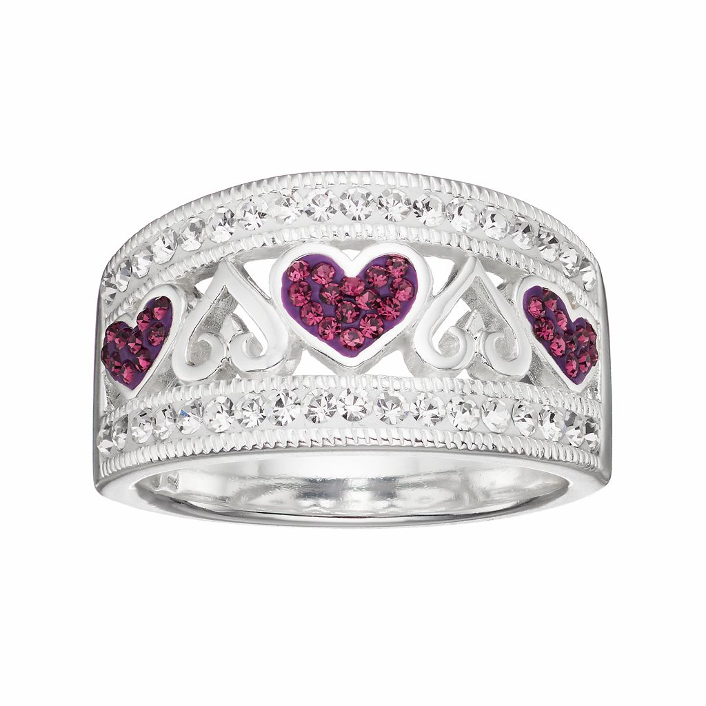Silver LuxuriesSilver Plated Crystal Heart Ring