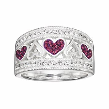 Silver Luxuries Silver Plated Crystal Heart Ring