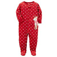 Baby Girl Carter's Polka-Dot Reindeer Microfleece Footed One-Piece Pajamas