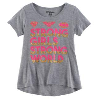 """Girls 7-16 DC Comics Supergirl, Wonder Woman & Batgirl """"Strong Girls, Strong World"""" Tee"""