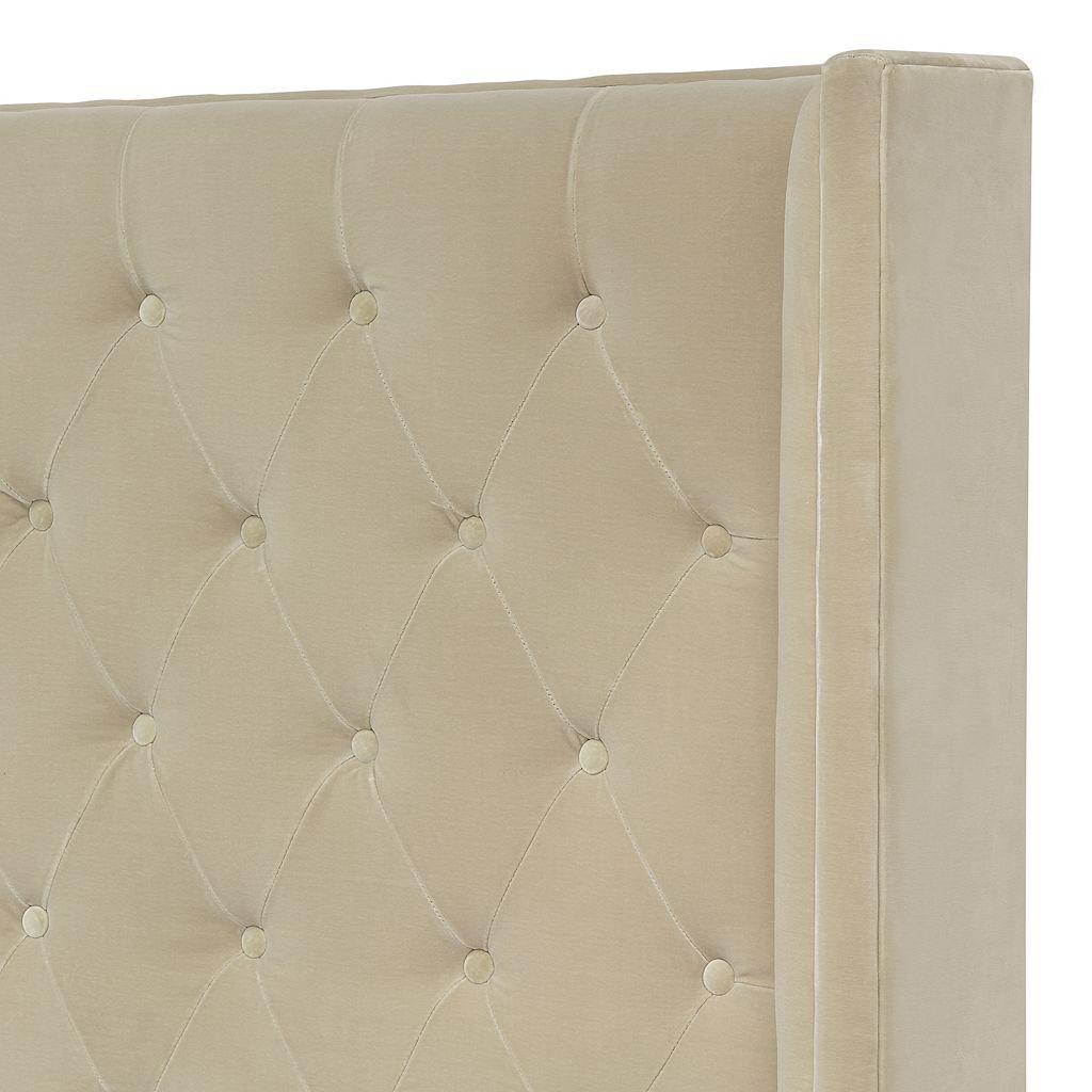 Safavieh Couture Beige Velvet Tufted Platform Bed
