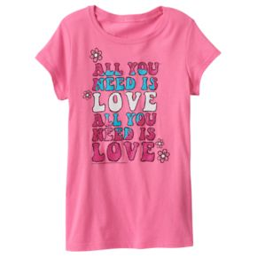 "Girls 7-16 ""All You Need Is Love"" Glitter Graphic Tee"