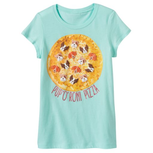 "Girls 7-16 ""Pup 'O' Roni Pizza"" Puff Print Graphic Tee"