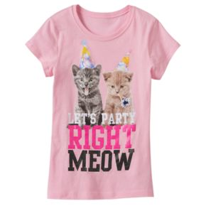 """Girls 7-16 """"Let's Party Right Meow"""" Kitten Glitter Graphic Tee"""