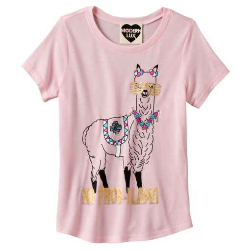 "Girls 7-16 ""No Prob-Llama"" Llama Foil Graphic Tee"