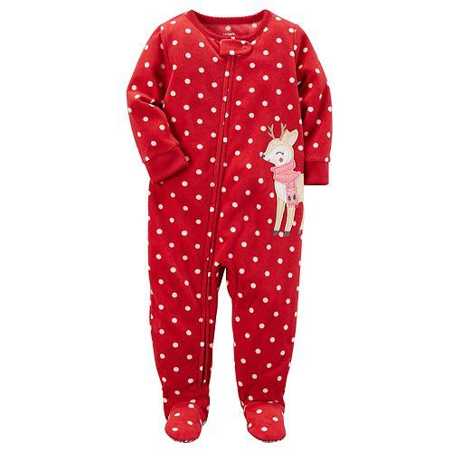 Toddler Girl Carter's Polka-Dot Reindeer Microfleece Footed One-Piece Pajamas