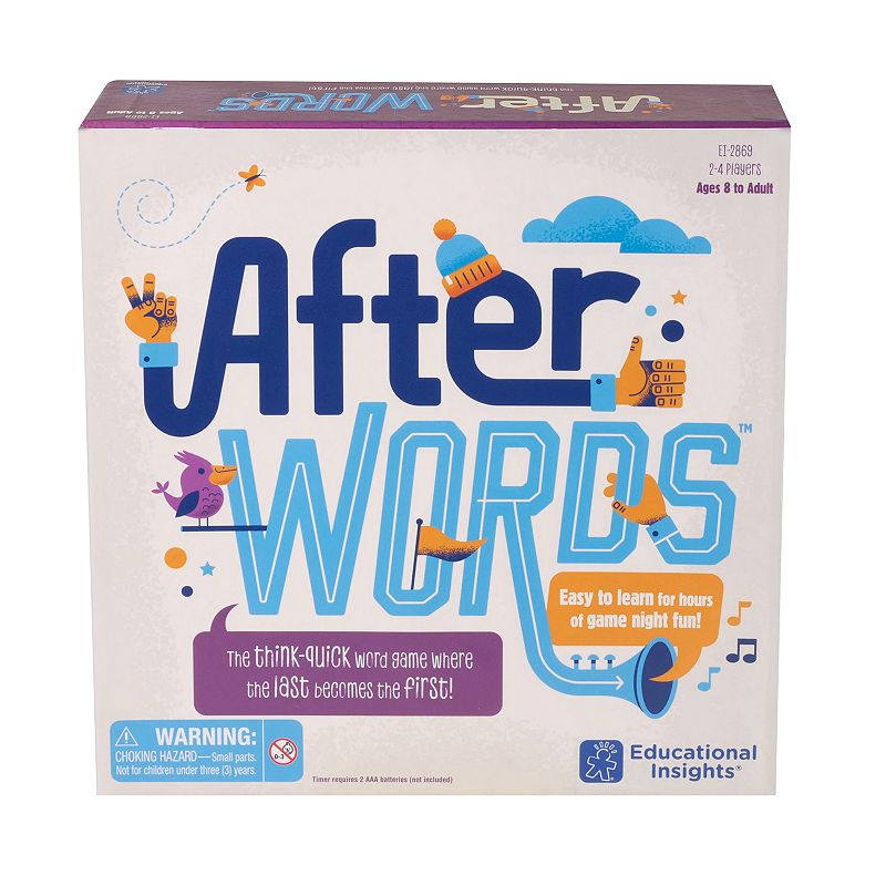 Educational Insights AfterWORDS Board Game In this Educational Insights AfterWORDS Board Game, players must name a word that matches 1 of their category cards and begins with the letter in play.Gift Givers: This item ships in its original packaging. If intended as a gift, the packaging may reveal the contents. Encourages quick-thinking skills & vocabulary development Fold-up game board 100 category cards Timer with 3 different timed durations for beginners, advanced players & serious wordies FIT & SIZING 3.2 H x 10.10 W x 10 D Age: 8 years & up For 2 to 4 players Requires 2 AAA batteries (not included) Imported Model no. 2869 Size: One Size. Color: Multicolor. Gender: unisex. Age Group: kids.