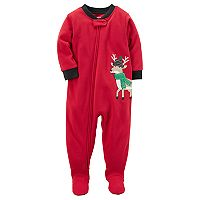 Toddler Boy Carter's Reindeer Applique Microfleece Footed One-Piece Pajamas