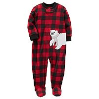 Toddler Boy Carter's Polar Bear Buffalo Plaid Fleece Footed Pajamas