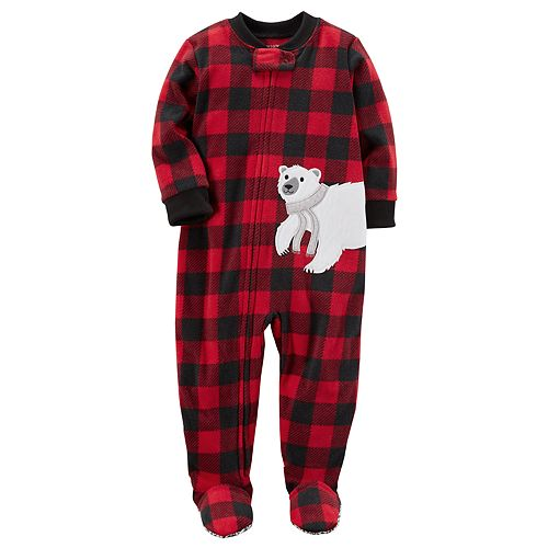 50d0e6b49 Toddler Boy Carter s Polar Bear Buffalo Plaid Fleece Footed Pajamas