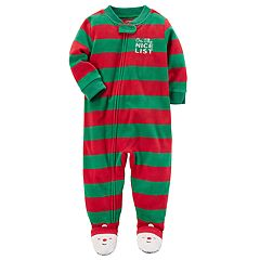 Toddler Boy Carter's 'On the Nice List' Striped Microfleece One-Piece Christmas Pajamas