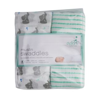 Baby aden & anais 2-pack Elephant & Striped Muslin Swaddles