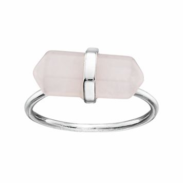 Healing Stone Silver Plated Rose Quartz Crystal Ring