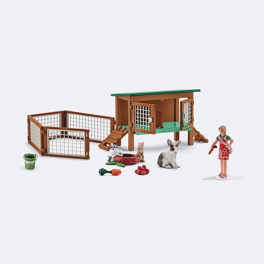 Farm World Rabbit Hutch with Rabbits Figure Set by Schleich