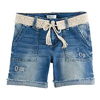 Girls 7-16 & Plus Size Mudd® Crochet Belted Dark Wash Denim Midi Shorts