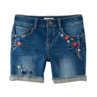 Girls 7-16 & Plus Size Mudd® Embroidered Flowers Midi Jean Shorts