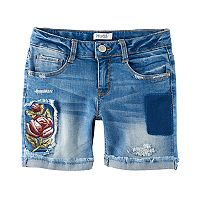 Girls 7-16 & Plus Size Mudd® Embroidered Flower Midi Jean Shorts