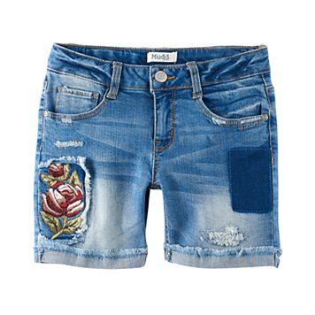 Girls 7-16 & Plus Size Mudd® Embroidered Flower Midi Jean Shorts