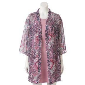 Juniors' Wallflower High Neck Dress & Kimono Set
