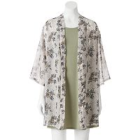 Juniors' Wallflower High Neck Dress & Kimono Set