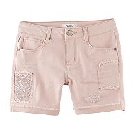 Girls 7-16 & Plus Size Mudd® Pink Embroidered Flower Midi Jean Shorts